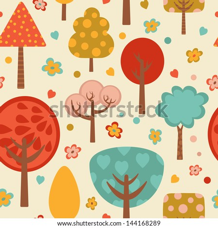 Bright colorful trees pattern. vector illustration - stock vector