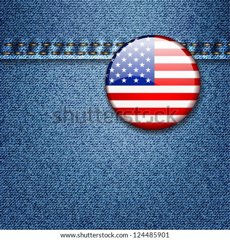 Bright Colorful USA Flag Badge on Denim Fabric Texture - stock vector