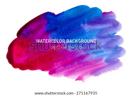 Bright colorful watercolor blot for text. Rainbow hand drawn design element. Vector illustration. - stock vector