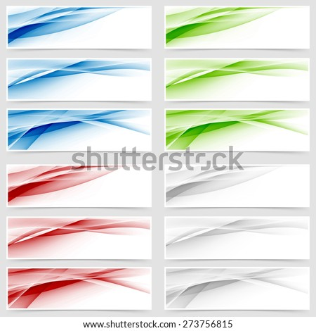 Bright colorful wave header collection. Vector illustration - stock vector