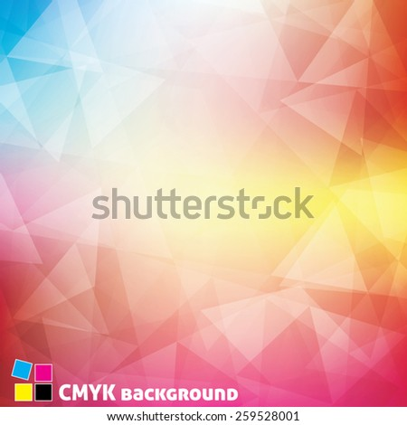 Bright colors background textured by triangles. Colorful vector pattern. CMYK color mode - stock vector