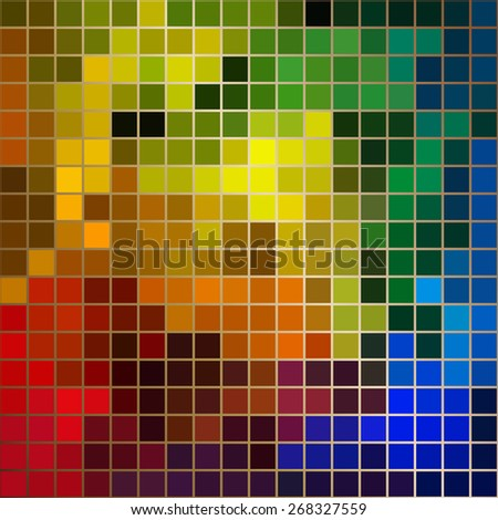 Bright colors square mosaic with gold borders - stock vector