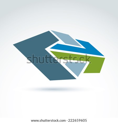 Bright complex geometric element created from separate parts. 3d abstract emblem with forward arrows. Conceptual corporate symbol, brand. - stock vector