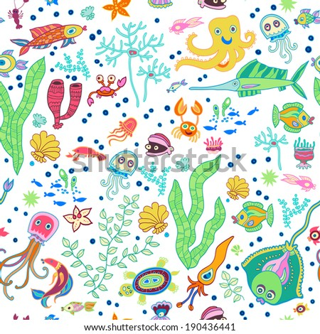 Bright concept underwater seamless pattern with whale, seaweed, octopus, fishes, starfish, corals and crab. Can be used for wallpapers, pattern fills, web page backgrounds, surface textures.