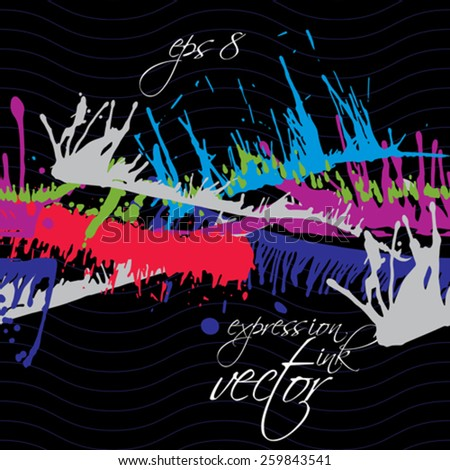 Bright contrast splattered web design repeat pattern, art ink blob, paintbrush drawing. Smudge graffiti colorful seamless background.