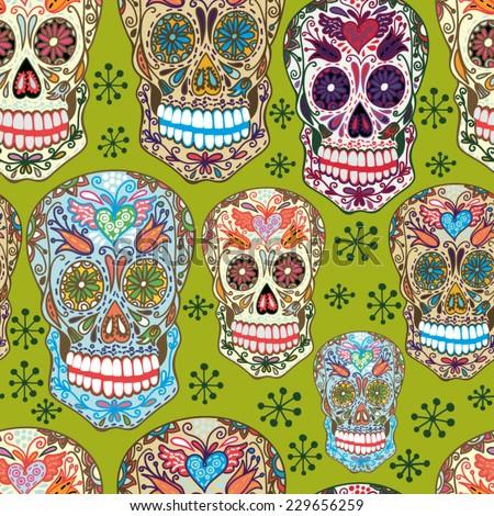 Bright Cool Vector Pattern of Sugar Skulls. - stock vector