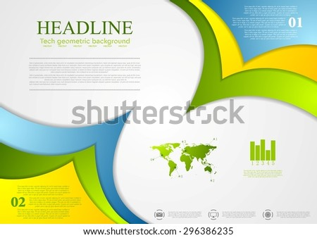 Bright corporate abstract contrast wavy background. Vector design - stock vector