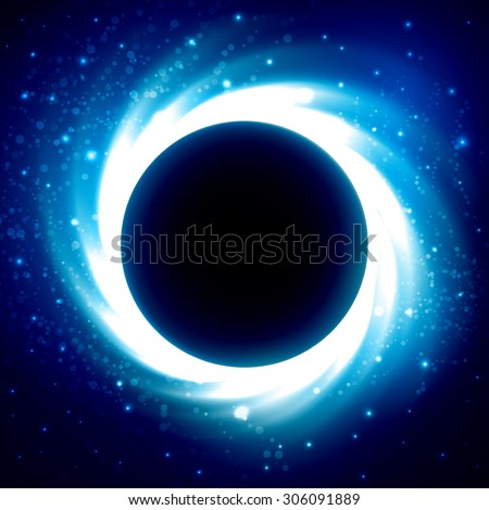 Bright cosmic storm and glowing star lights on black-blue vector background with copy space for text in center. Abstract astronomy wallpaper design with super nova - stock vector