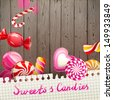 Bright creative background with sweets and candies - stock vector