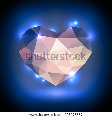 Bright crystal heart - stock vector