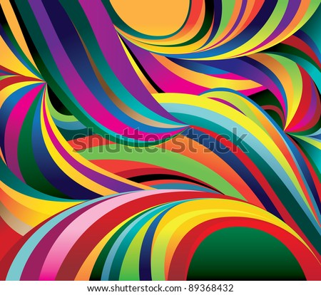 Bright curved waves. Background. Vector Illustration - stock vector
