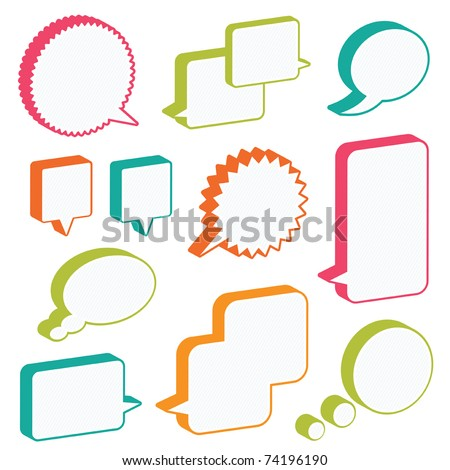 bright 3d speech bubbles ready for text, isolated on white - stock vector