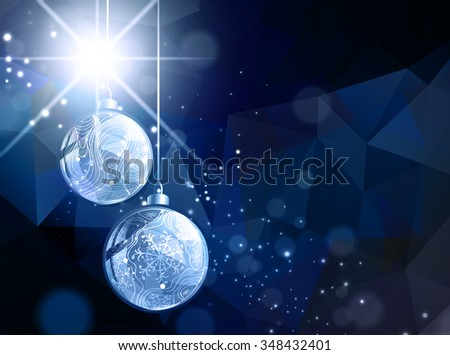 Bright Dark Abstract Christmas and New Year Background With Star and Baubles - stock vector