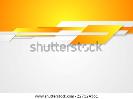 Bright  design. Geometric shapes on white and orange background - stock vector