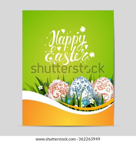 Bright Easter Card. Template card with Easter eggs, grass and flowers. Floral Russian folk paints. Happy Easter. Vector background. Lettering, calligraphy. Handwriting inscription.