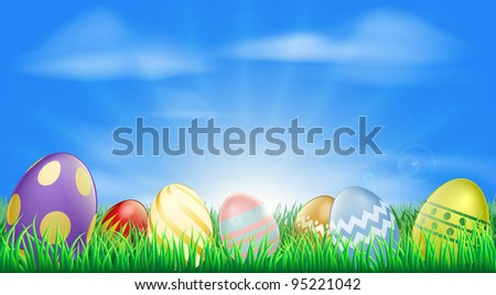 Bright Easter eggs background with pretty decorated Easter eggs in the grass - stock vector