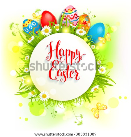 Bright Easter eggs on a grass. Easter holiday background  for design card, banner,ticket, leaflet and so on. Place for text. - stock vector
