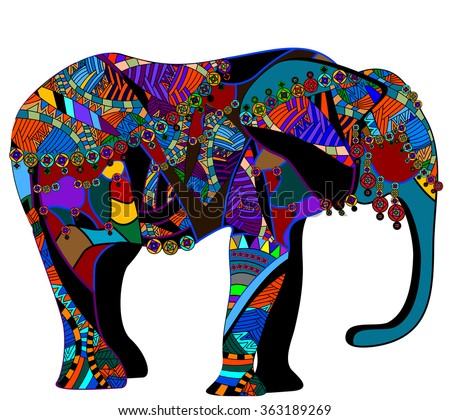 bright elephant of the elements in vintage style - stock vector
