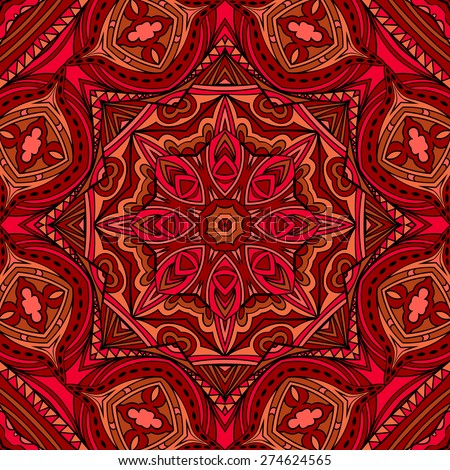 Bright ethnic Indian seamless pattern. Repeatable tribal geometric ornament in warm red shadows. Abstract symmetric background. Stained glass style. Square motif. Vector file is EPS8. - stock vector