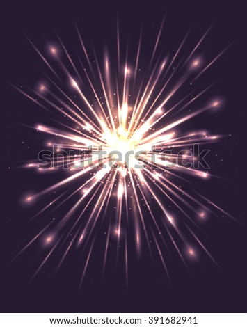 Bright explosion with rays and glare. Vector element for your creativity - stock vector