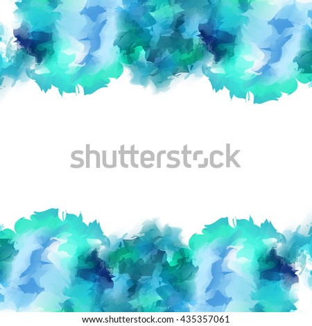 Bright festive whirlwind gentle turquoise watercolor isolated spots peeking out from the bottom and top, leaving space for text. - stock vector