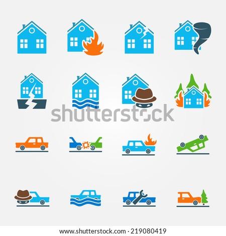 Bright flat insurance icons vector set - natural disaster, home and auto insurance, car crash vector symbols - stock vector