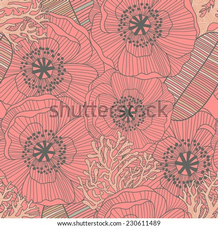 Bright floral background made of stylish poppy flowers in vector. Seamless pattern can be used for wallpaper, pattern fills, web page background,surface textures. Gorgeous vintage seamless floral card - stock vector
