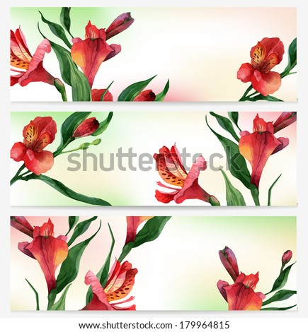 Bright floral backgrounds. Headers. Vector illustration - stock vector