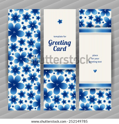 Bright floral card with simple flowers. Blue vintage illustration. Decorative element for design, place for text. Template frame for greeting card and wedding invitation. - stock vector