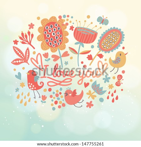 Bright floral invitation card with birds, flowers on blue background with bokeh effect. Cartoon romantic background � ideal for wedding invitations. Stylish Save the Date card in vector - stock vector
