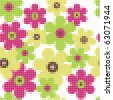 Bright floral mosaic seamless  pattern - vector illustration - stock vector