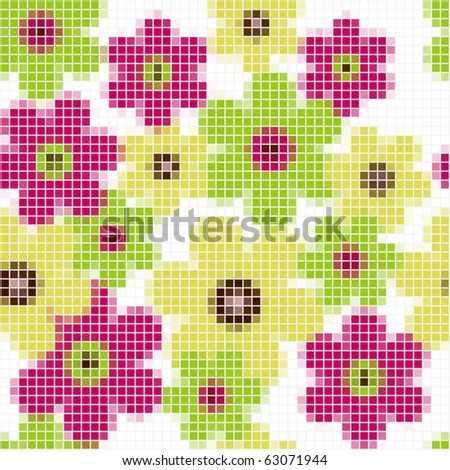 Bright floral mosaic seamless  pattern - vector illustration
