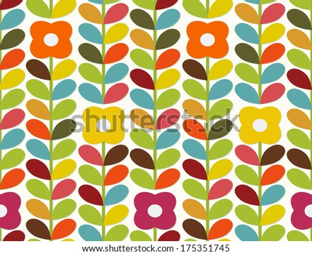 Bright floral ornament in Scandinavian style. Seamless - stock vector