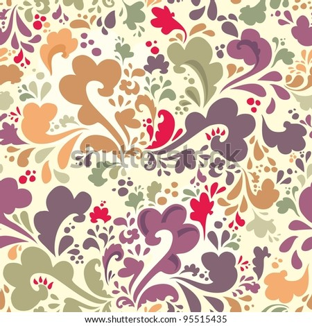 Bright floral seamless pattern for the background - stock vector