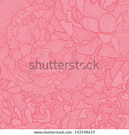 Bright floral seamless pattern in pink colors. Ideal for wedding invitations - stock vector