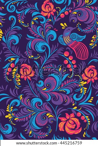 Bright floral textile vector seamless pattern in Russian Khokhloma style