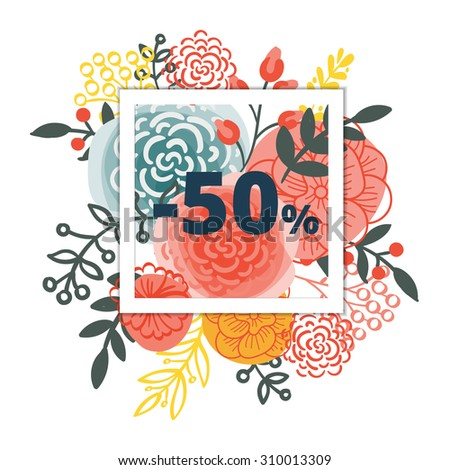 Bright flower design for your sales, discounts and promotions. Trend style. It can be used for banner, flyer, outdoor printing price tags. - stock vector