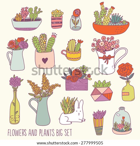 Bright flowers and plants big set in vector. Lovely background with cute flowers, sweet house plants in pots and funny rabbit