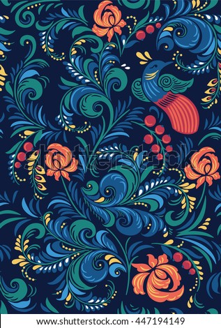 Bright flowers floral Russian beautiful folk ornament with bird. Vector illustration. Seamless pattern background.