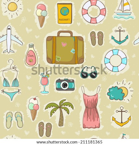Bright freehand drawn travel on vacation summer seamless pattern. Vector illustration
