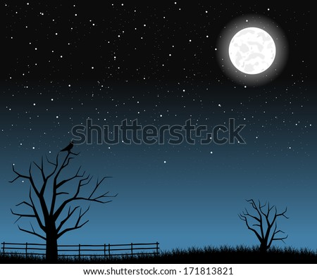 Bright full moon with tree branches  - stock vector