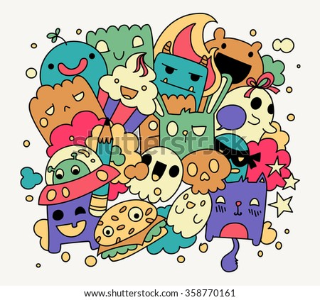 Bright funny doodles, vector illustration, cute cartoon characters - stock vector
