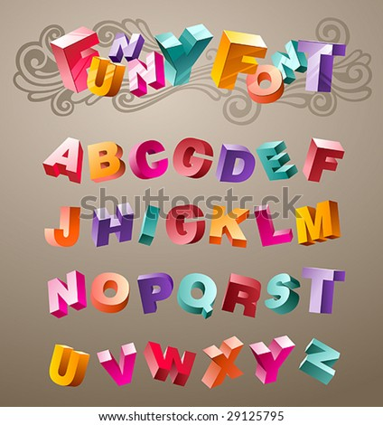 bright funny font design alphabet. in vector - stock vector