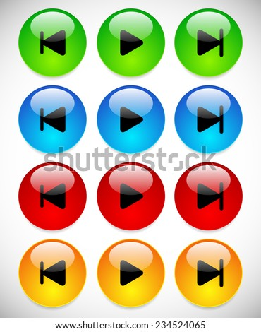 Bright, glossy previous, play and next buttons - stock vector