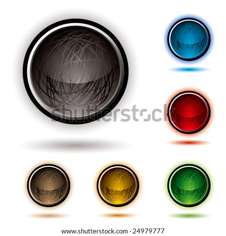 bright glowing buttons with scribbles and drop shadow - stock vector
