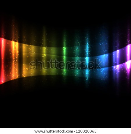 Bright glowing waves dark background. EPS10 vector. - stock vector