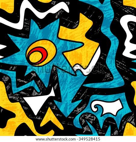 bright graffiti geometric seamless pattern grunge effect - stock vector