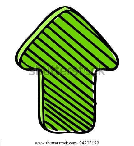 Bright green arrow sketch vector illustration - stock vector