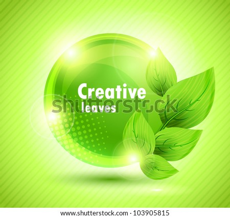 Bright green background with leaves design and circle