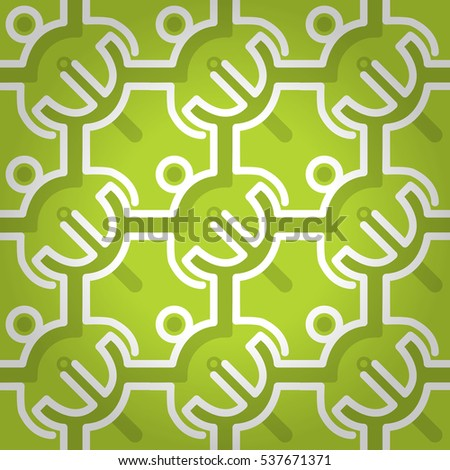 Bright green decorative seamless pattern in technology style. Colored, graphical design for web, fabric, curtain or other purpose.